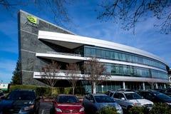 Santa Clara CA - Februari 1 2018: NVIDIA Corp , ledare av konstgjord intelligens, GPU, GeForce, 3D dobbel, vision 3D Royaltyfri Bild