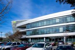 Santa Clara CA - Februari 1 2018: NVIDIA Corp , ledare av konstgjord intelligens, GPU, GeForce, 3D dobbel, vision 3D Royaltyfria Bilder