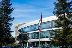 Santa Clara CA - Februari 1 2018: NVIDIA Corp , ledare av konstgjord intelligens, GPU, GeForce, 3D dobbel, vision 3D Arkivbilder