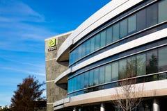 Santa Clara CA - Februari 1 2018: NVIDIA Corp , ledare av konstgjord intelligens, GPU, GeForce, 3D dobbel, vision 3D Fotografering för Bildbyråer