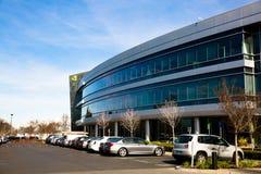 Santa Clara CA - Februari 1 2018: NVIDIA Corp , ledare av konstgjord intelligens, GPU, GeForce, 3D dobbel, vision 3D Royaltyfri Foto