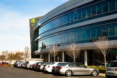Santa Clara CA - Februari 1 2018: NVIDIA Corp , ledare av konstgjord intelligens, GPU, GeForce, 3D dobbel, vision 3D Royaltyfria Foton