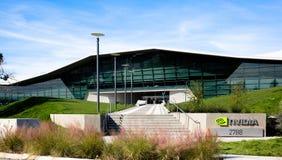Santa Clara CA - Februari 1 2018: NVIDIA Corp , ledare av konstgjord intelligens, GPU, GeForce, 3D dobbel, vision 3D Arkivbild