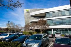 Santa Clara CA - Februari 1 2018: NVIDIA Corp , ledare av konstgjord intelligens som beräknar, uppfinnare av GPUEN, Tesla, Quadro Royaltyfri Foto