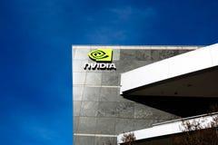 Santa Clara, CA - fevereiro 1, 2018: NVIDIA Corp , líder da inteligência artificial, GPU, GeForce, 3D jogo, visão 3D Foto de Stock Royalty Free