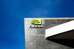 Santa Clara, CA - fevereiro 1, 2018: NVIDIA Corp , líder da inteligência artificial, GPU, GeForce, 3D jogo, visão 3D Imagem de Stock