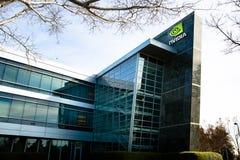 Santa Clara, CA - fevereiro 1, 2018: NVIDIA Corp , líder da inteligência artificial, GPU, GeForce, 3D jogo, visão 3D Fotografia de Stock Royalty Free