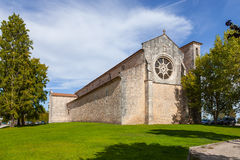 Santa Clara Church with the Rose or Catherine Window. 13th century Mendicant Gothic Architecture. Santarem, Portugal stock photography