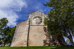 Santa Clara Church with the Rose or Catherine Window. 13th century Mendicant Gothic Architecture. Santarem, Portugal royalty free stock photo