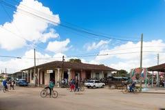 Santa Clara, Cuba - June 22, 2017: Street life view with cuban p. Eoples and american blue Chrysler classic car in Santa Clara Cuba - Serie Cuba Reportage Royalty Free Stock Image