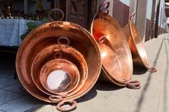 SAnta Clara del Cobre, Mexico. Large copper vessels in Santa Clara del Cobre, Mexico Stock Image