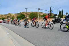 Santa Clarita, Ca De V.S. 18 Mei, 2019 AMGEN-Reis van stadium 7 van Californi? ras door Santa Clarita op de manier aan Pasadena,  stock fotografie