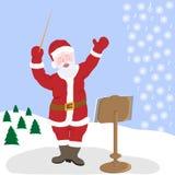 Santa Claus är den största musikern av naturen i vinter Royaltyfria Foton
