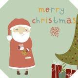 Santa Claus äter kakor med choklad och drinkin Royaltyfri Fotografi