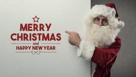 Santa Claus önska dig glad jul Royaltyfri Fotografi