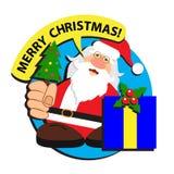Santa Claus önskar glad jul Fotografering för Bildbyråer