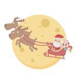 Santa Claus über Mondhimmel-Weißhintergrund Lizenzfreies Stockfoto