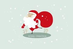 santa Claus Χριστουγέννων ανασκόπη&s Διάνυσμα Χριστουγέννων χαιρετισμού Στοκ Φωτογραφία