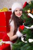 santa Claus Χριστουγέννων που φορά  Στοκ Εικόνες