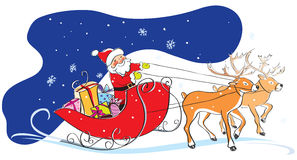 Santa Claus в розвальнях, подарках рождества, deers Стоковые Фотографии RF