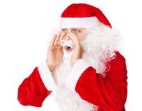 Santa Claus громко screaming вызывать вне к кто-то Стоковая Фотография RF