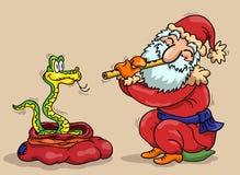 Santa Claus и змейка иллюстрация штока