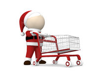 Santa Claus и магазинная тележкаа Стоковое Изображение