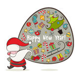 Santa Claus и мешок с подарками иллюстрация штока
