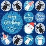 Santa Claus и северный олень Иллюстрация ` s рождества и Нового Года Могут быть поздравительная открытка или приглашение иллюстрация штока