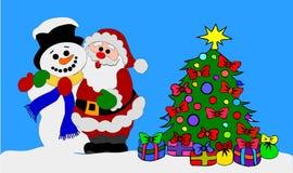 Santa Claus и снеговик иллюстрация штока