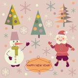 Santa Claus и снеговик Стоковая Фотография RF