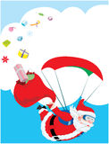 Santa Claus летное и его сломленный мешок подарка бесплатная иллюстрация