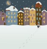 Santa Claus приходя в городок рождества Стоковое Изображение RF