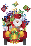 Santa Claus при северный олень управляя иллюстрацией Стоковые Изображения RF