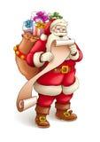 Santa Claus с вкладышем полным подарков иллюстрация вектора