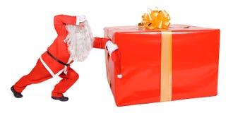 Santa Claus с коробкой рождества Стоковые Фотографии RF