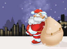 Santa Claus. With city on the background, color illustration Royalty Free Stock Photos