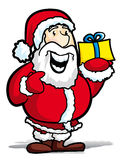 Santa claus. With a yellow gift - illustration Stock Photography