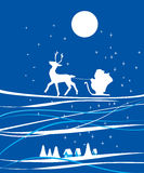 Santa Claus. Riding his deer in the sky Stock Image