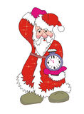 Santa Claus. With a clock Royalty Free Stock Images