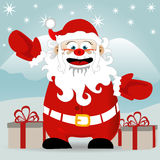 Santa Claus. Santa is coming with gift - vector illustration Stock Photos