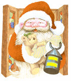Santa Claus. With lantern and bag with gifts Royalty Free Stock Photo