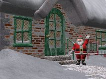 Santa Claus. 3D rendered Santa Claus outside his house Royalty Free Stock Photo