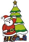 Santa Claus. Santa with Christmas Tree and Presents Royalty Free Stock Photo