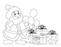 Santa Claus. Line art with gifts and balloons for coloring books Royalty Free Stock Photos