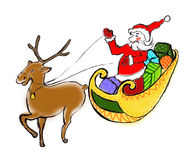 Santa Claus. Drawn Santa Claus, on sledge get ready a deer, with gifts Royalty Free Stock Images