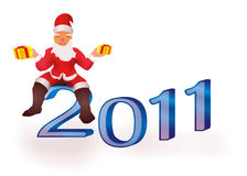 Santa Claus. Sitting on 2011 figures vector illustration