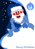 Santa Claus. Merry Christmas card with blue Santa Claus Royalty Free Stock Photos