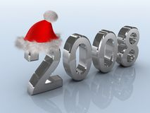 Santa Claus 2008. Symbols of new year in christmas hat Stock Photos