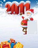 Santa Claus 2011. Santa Claus with blank poster and the new year 2011 vector illustration